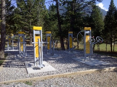 Radium Hot Spring's outdoor gym, an assortment of outdoor exercise equipment for your enjoyment a short 5 minute walk from Rundlestone