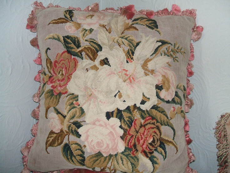Victorian French needlepoint pillow / cushion. SOLD Antique pillows/cushions Pinterest ...