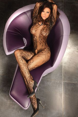 Corsetti Abra Bodystocking £21.99 Long sleeved full length, scoop necked bodystocking with an all over floral and filigree pattern. Open crotch.  www.townoftoys.co.uk