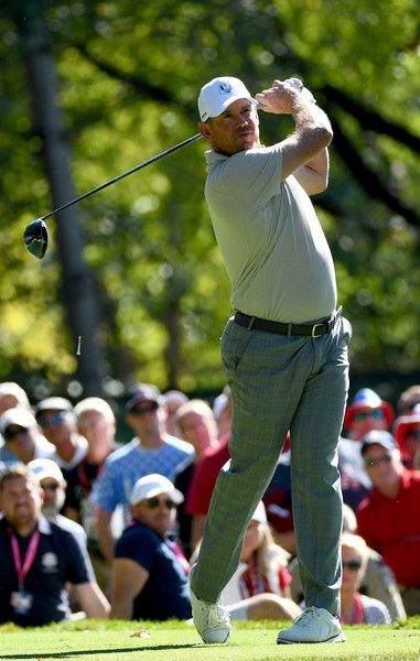 Lee Westwood of Europe hits off the fifth tee during afternoon fourball matches of the 2016 Ryder Cup at Hazeltine National Golf Club on October 1, 2016 in Chaska, Minnesota.