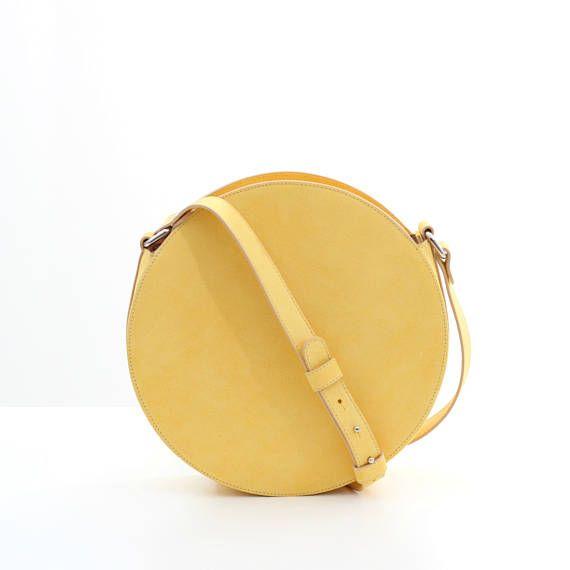 Yellow leather circle bag round bag leather crossbody bag