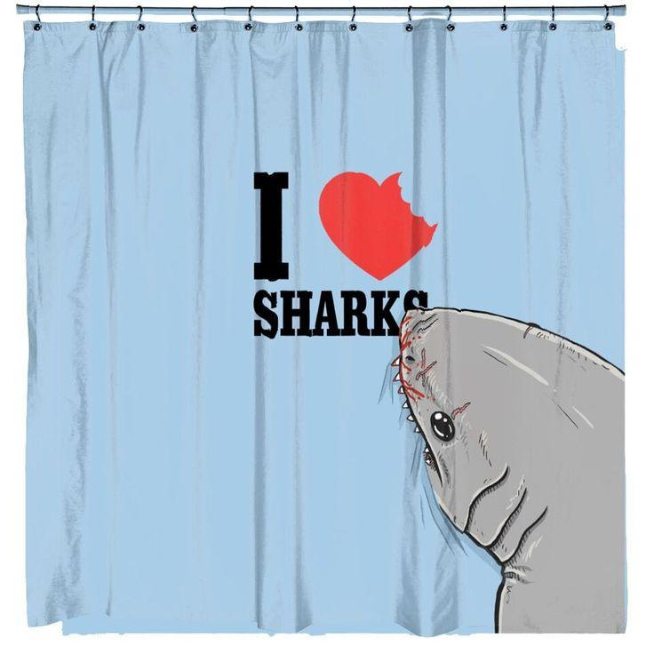 Perfect I Love Sharks Shark Attack Shower Curtain | CrazyDog T Shirts