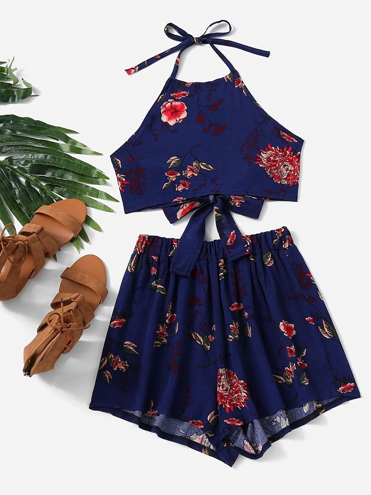 #AdoreWe #ROMWE ROMWE Floral Print Bow Tie Open Back Top With Shorts - AdoreWe.com