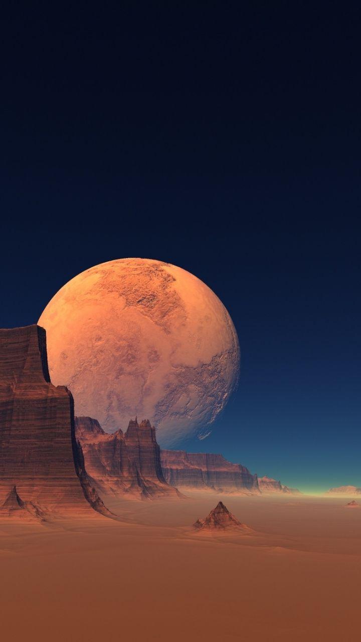 Moon Landscape Cgi Fantasy Art 720x1280 Wallpaper Wallpaper Earth Fantasy Landscape Scenery Wallpaper