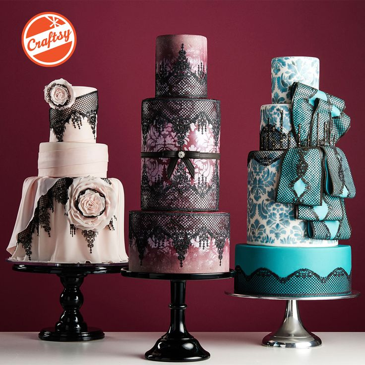 """""""Dramatic Cake Design ~ Luscious Lace"""" New Craftsy Class by Sonja McLean of Sweet and Swanky Cakes """"The Three Sisters"""" Photo by Craftsy"""