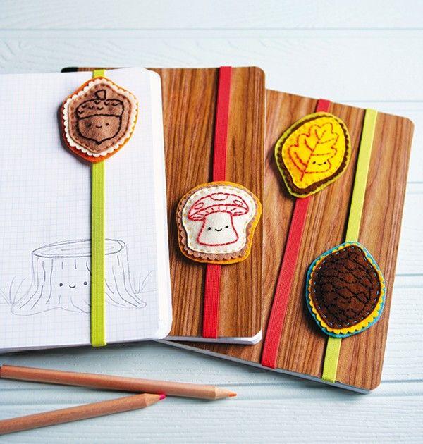 Deze gezellige boekbandjes zijn ontworpen door Mollie Johanson een van de ontwerpers uit het boek Mollie Makes Anmimals & Friends. Je maakt deze boekenleggers vrij eenvoudig zelf! Materialen (per bandje) Drie stuks vilt van minstens 7,5 x 9,5 com in verschillende kleuren Borduurgaren in de...