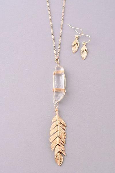 Boho Feather Crystal Necklace Set