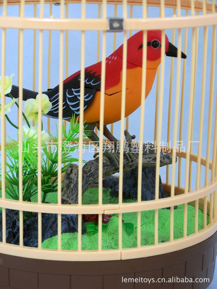 Electronic Small bird Toys sound control Birdcages simulation bird cage round birdcage children puzzle toys gifts for kids