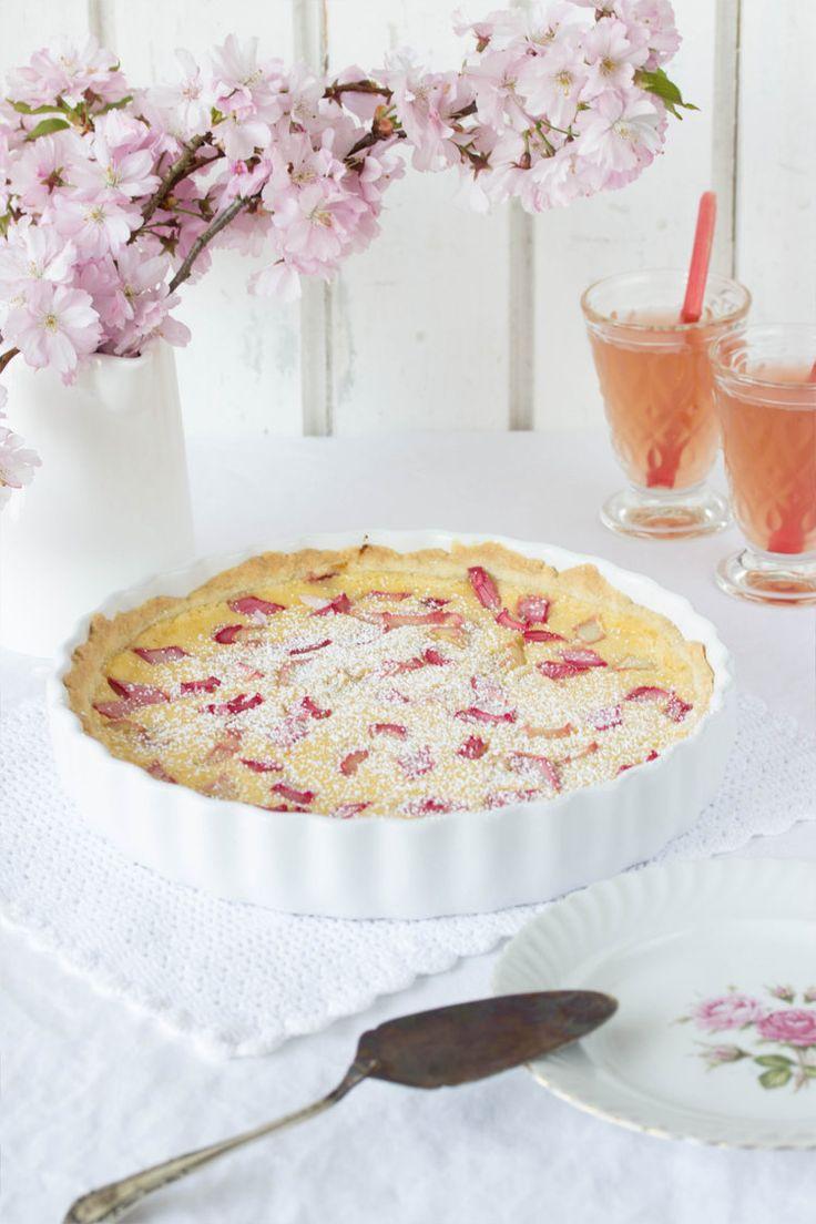 Rhabarber-Pudding-Tarte kuchen,    Rhabarber-Vanille-Tarte