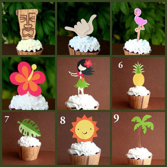 Hawaiian Luau Tiki Party Cupcake Toppers Set of 12- YOU CHOOSE- Tiki Head, Hula Girl, Pineapple, Sun, Leaf,Palm Tree,Flamingo,Shaka,Hibiscus...