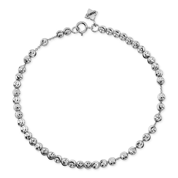 White And Yellow Triple Bead Chain Anklet In Sterling Silver FXdpWSd2