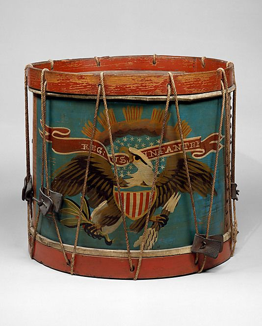 Stenciled eagle design drum c. 1860.  (Philadelphia, Penn).