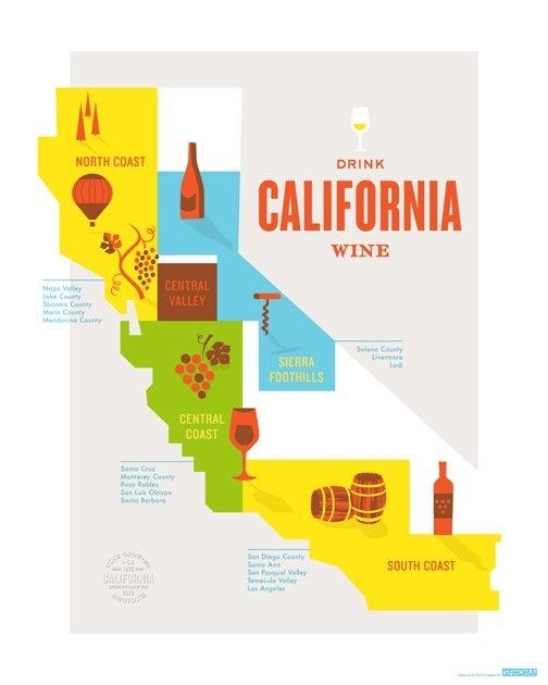 California wine poster: SFMOMA, California Wine Map.
