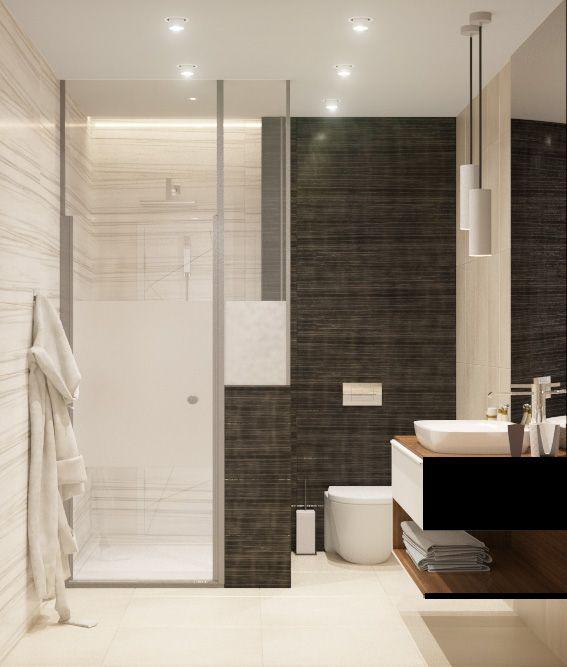 Гостевой санузел в контрастных тонах. Интерьер. Туалетная комната с плиткой под дерево.