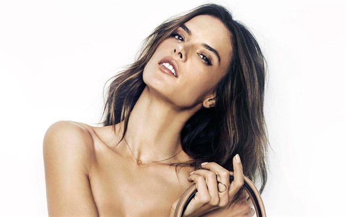 Download wallpapers 4k, Alessandra Ambrosio, 2017, supermodels, beauty, Victorias Secret Angel, brunette
