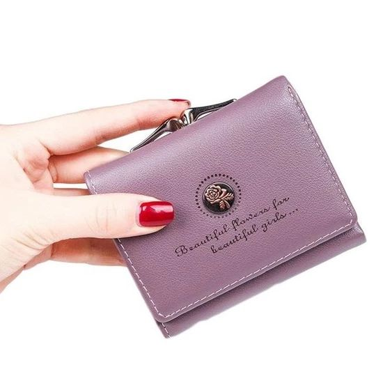 Women Wallet Case Female Short Coin Purse Gold Letter Rose Printintothea