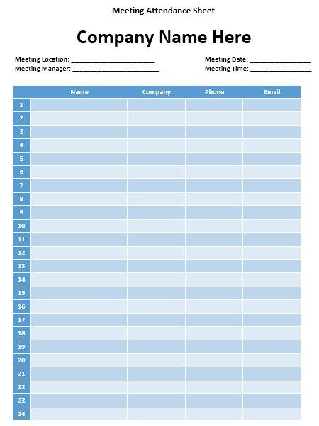 Meeting Attendance Sheet | Stationary Templates ...