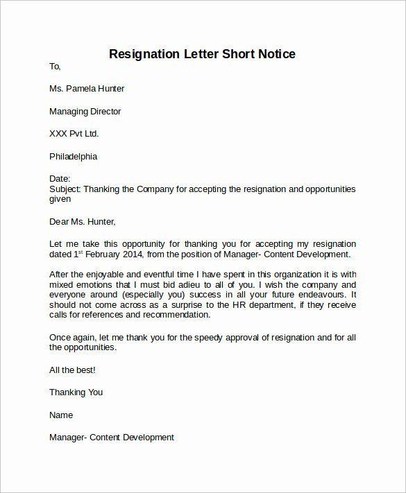 Resignation Letter Short Notice Unique Sample Resignation Letter Short Notice 6 Free Documents Resignation Letter Resignation Letter Format Resignation Letters