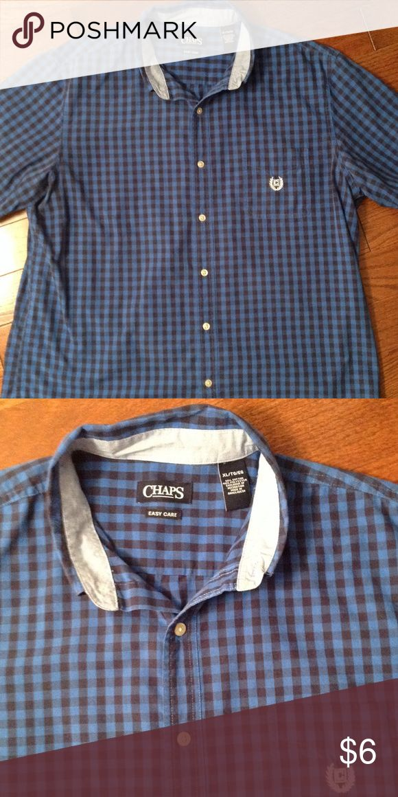Men's short sleeve button down shirt 1 front chest pocket, 60% cotton, 40% polyester Chaps Shirts Casual Button Down Shirts