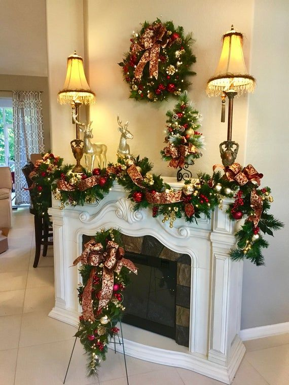 4 Pc Set Christmas Wreath Garland Burgundy Ribbons Free Shipping Cordless Pre Lit Original Christmas Wreaths Christmas Fireplace Christmas Home