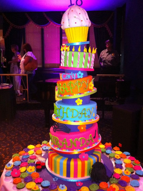 Crazy iCarly cake. Colors and details.