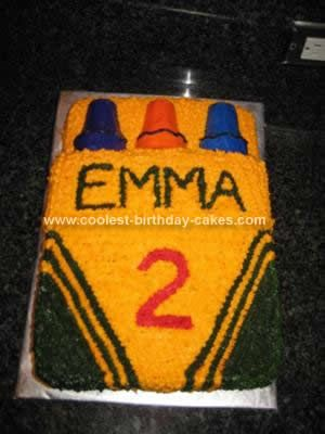 Homemade Crayon Cake Design: I couldn't find a cake mold for a crayon box, so I started with all the great crayon cakes on this site. For this Crayon Cake Design I baked one chocolate