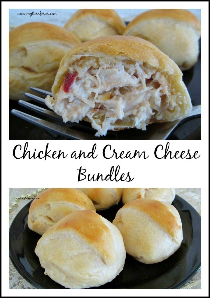 Chicken, Cream Cheese, saute onion and pimentos in crescent rolls! http://www.myturnforus.com/2015/12/chicken-and-cream-cheese-bundles.html