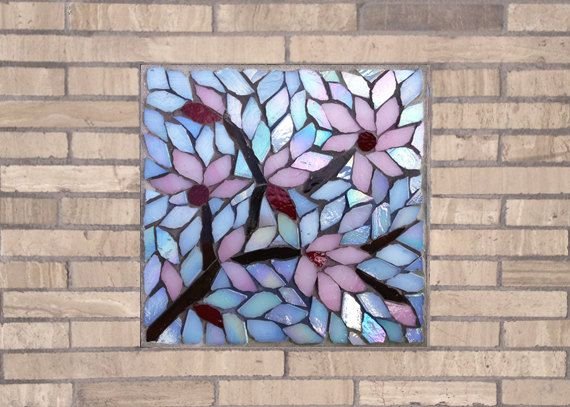 Cherry Blossom Zen Mosaic Accent Piece by Dyanne Williams Mosaics on Etsy