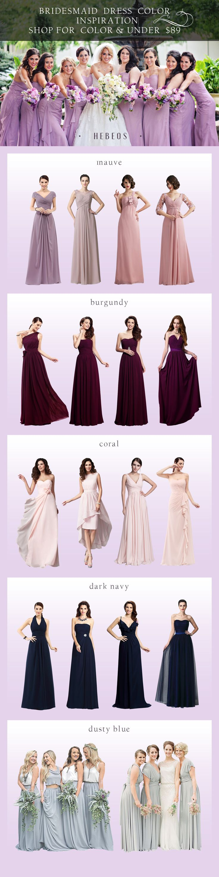 Shop for latest affordable bridesmaid dresses include all styles & colors. Design & Handmade from #Hebeos