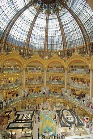 Galleries Lafayette: Shopping in Paris. Address: 40, Blvd. Haussmann, 9th arrondissement   Metro: Chaussée d'Antin, Opéra, or Trinité   RER: Auber (Line A) or Haussmann St-Lazare (Line E)