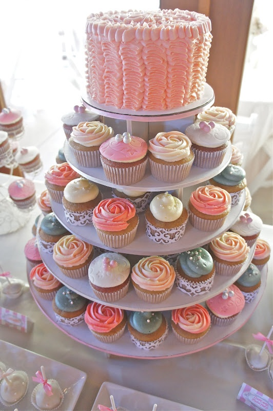 Vintage Rose Cupcake Tower by Half Baked Co.: Cupcake Joy, Fancy Cakes, Rose Cupcake, Vintage Roses, Wedding Cakes Desserts, Cupcake Towers, Sprinkling Cupcake, Buttercream Cupcakes