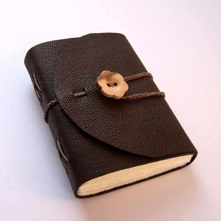 Cute Mini Brown Leather Wrap Journal with wooden flower button closure. Perfect pocket book for lists or inspirations