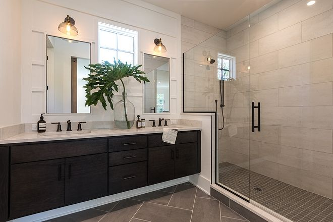 Modern Farmhouse Bathroom With Large Shower With 12x24 Tile Herringbone Floor Tile Floati Modern Farmhouse Bathroom Farmhouse Master Bathroom Large Bathrooms