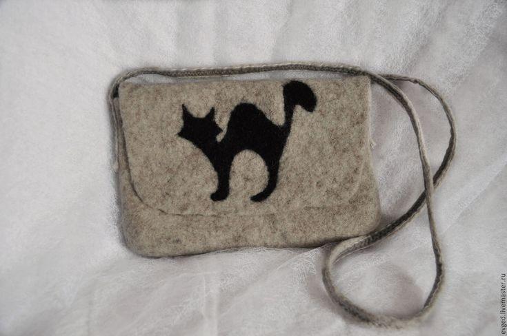 """Купить Сумка """"Черная кошка"""" валяная из шерсти - рисунок, серый, сумка ручной работы"""