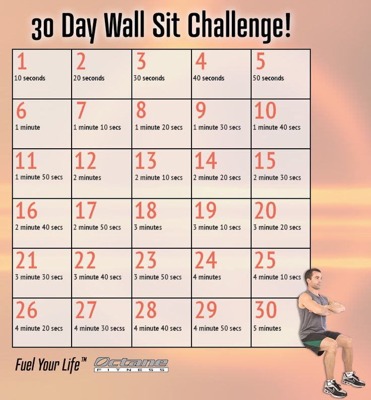 30-day Wall Sit challenge! great for the month of November... or April, June and September! #workout #fitness #exercise