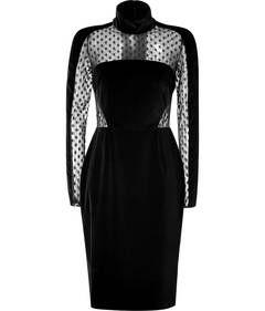 Velvet/Sheer Panel Dress in Black