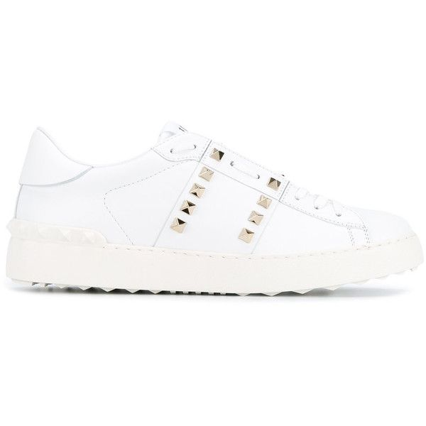 Valentino Sneakers ($840) ❤ liked on Polyvore featuring shoes, sneakers, white, white leather sneakers, round toe sneakers, valentino trainers, leather lace up sneakers and white leather trainers