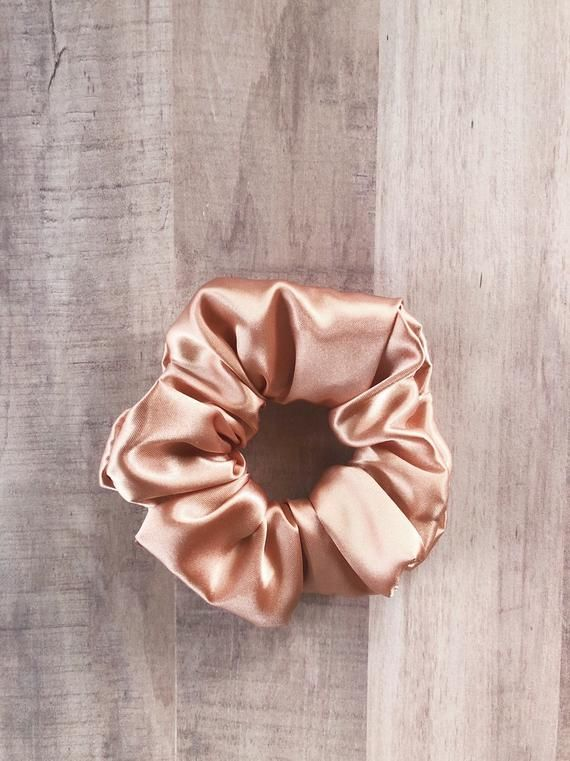 90s Scrunchie Hairstyles: Rose Gold Satin Scrunchie
