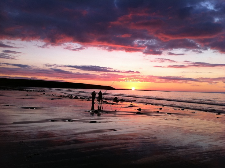 Fishing on Streedagh Beach at sunset