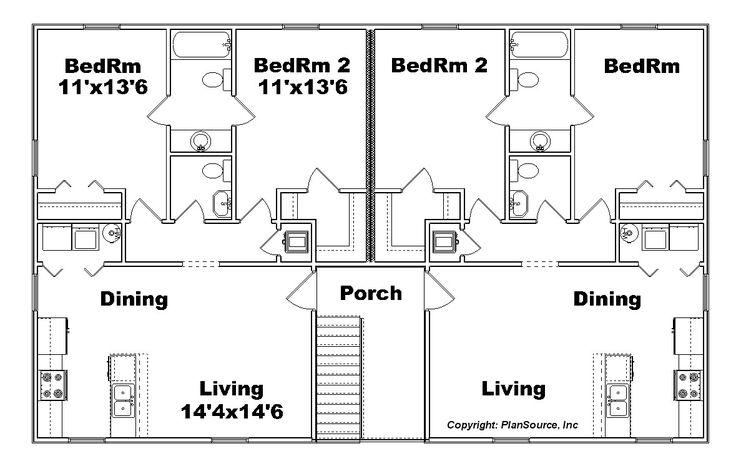 9 best multi family plans images on pinterest house for Fourplex apartment plans