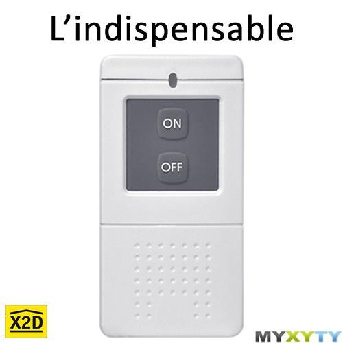 La télécommande Myxyty pour activer / désactiver l'alarme : http://www.myxyty.com/produit/telecommande-alarme-centrale-domotique-frequence-radio-x2d