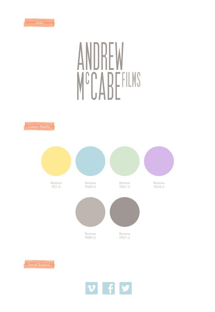 Andrew McCabe Films, Wedding Videographer, Branding, Logo, Colour Palette, Social Buttons. By Leaff Design, Worcester UK.