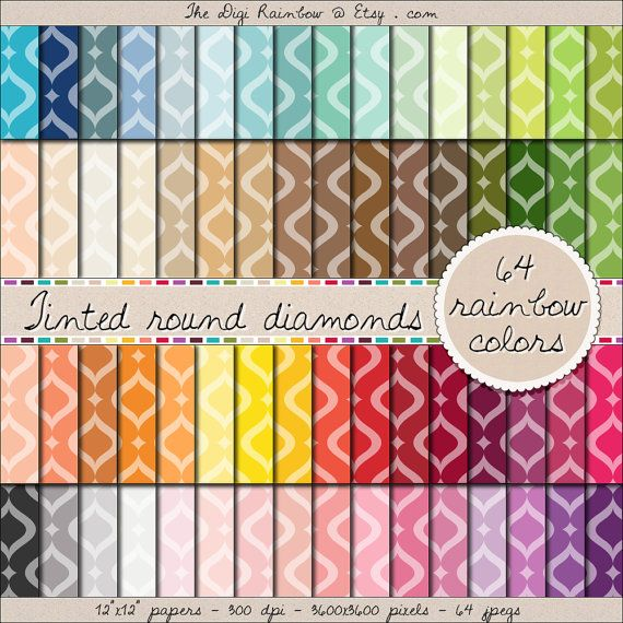 SALE 64 diamond  #scrapbooking paper in #rainbow colors. #Scrapbooking #printable papers or #patterns for #crafts, #journaling, party organization and decor or any #DIY projects. 60% OFF