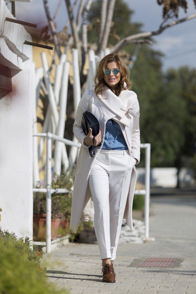 Coat : GUCCI  Trousers & Jean Shirt : Zara Shoes : Church's Bag : Celine Shades: Moscot  for Colette Paris