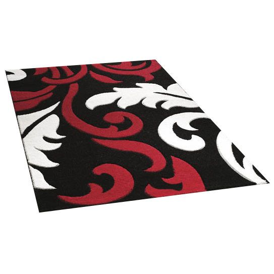 Art Twist Fl Rug Bold Patterns In Black Red White 3 Sizes