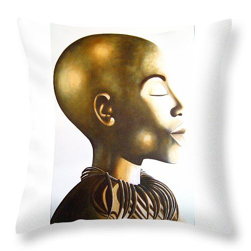 "African Elegance Sepia Throw Pillow 14"" x 14"" by Tracey Armstrong"
