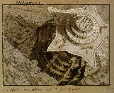 Metropolis 1927 - Film Archive - Erich Kettelhut Drawings 1925-6.  'Metropolis - Stadt von oben mit Turm Babel. Bild I.' City from Above with Tower of Babel, Image No.1, gouache on cardboard, 39.2 x 52.6 cm. (c) Filmmuseum Berlin - Deutsche Kinemathek