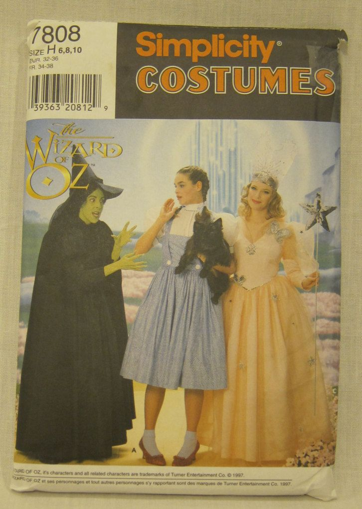 Cheapest Shipping, Wizard of Oz Costumes Pattern. Simplicity 7808/0617. Glenda Costume Pattern. Witch.Wizard Of Oz Adult Sz:12-14. Complete. by FashionSew on Etsy