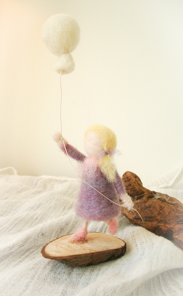 Gnomette, little girl with ballon,wool felted, valentine celebration, Waldorf art
