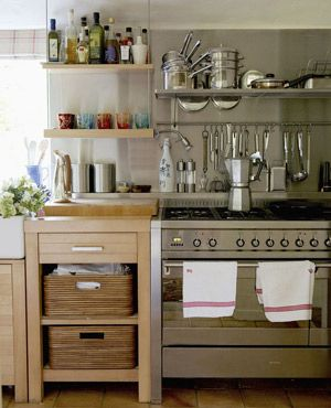 Open shelves and baskets in a kitchen